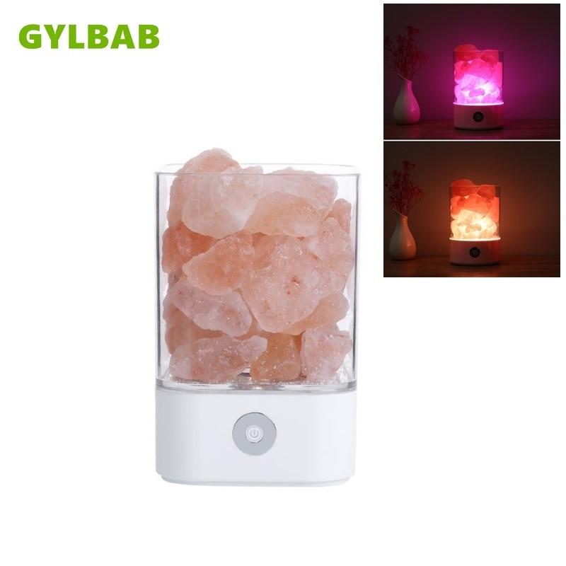 GYLBAB USB Crystal DC 5V natural himalayan salt led bulb Air Purifier Mood dimming warm night light table lamp bedroom desk