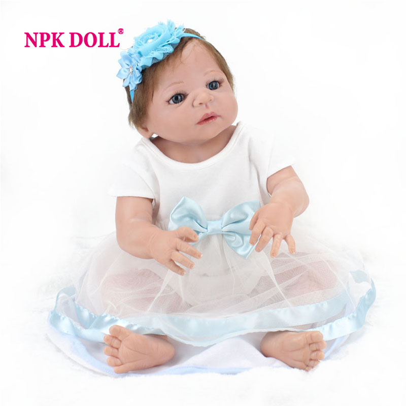 NPKDOLL 22 Inch Doll Reborn Baby Baby Born Reborn Baby Full Body Silicone Dolls For Girls Reborn Baby Doll Christmas Gift npkdoll 22 inch 55cm silicone reborn baby dolls with implanted mohair good price playmate christmas gift for children