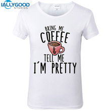 2017 New Funny Coffee Cup T shirts Fashion Letter Print Tops Short Sleeve Slim White Women T shirts Kawaii Casual Tops S474