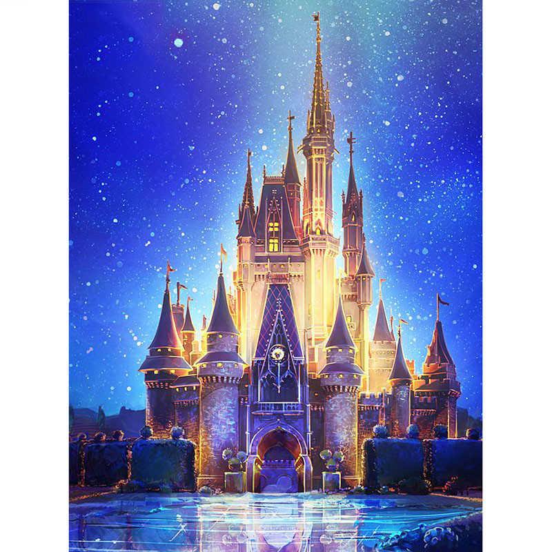 5D completo FAI DA TE trapano Piazza pittura di Diamante punto Croce Cartone Animato Castello di Diamante del ricamo decorazione A Mosaico AA