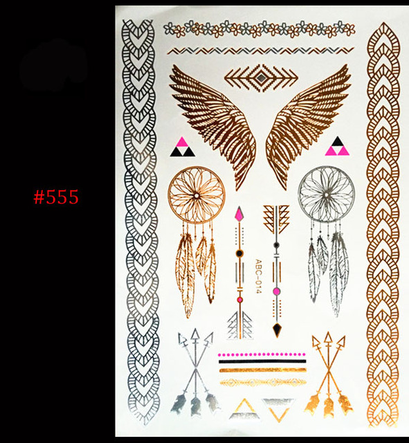 Gold Silver Metal Waterproof Henna Tattoos Female Golden Wings Arrow Temporary Tattoos