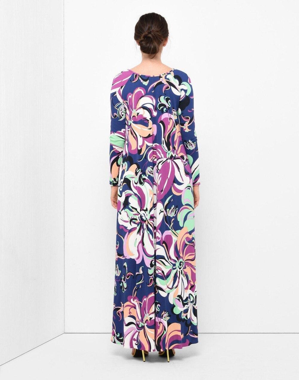 Nouvelle mode 2018 Designer luxe Maxi robe femmes à manches longues bleu géométrie imprimer XL XXL Stretch Jersey soie Spandex longue robe-in Robes from Mode Femme et Accessoires    2