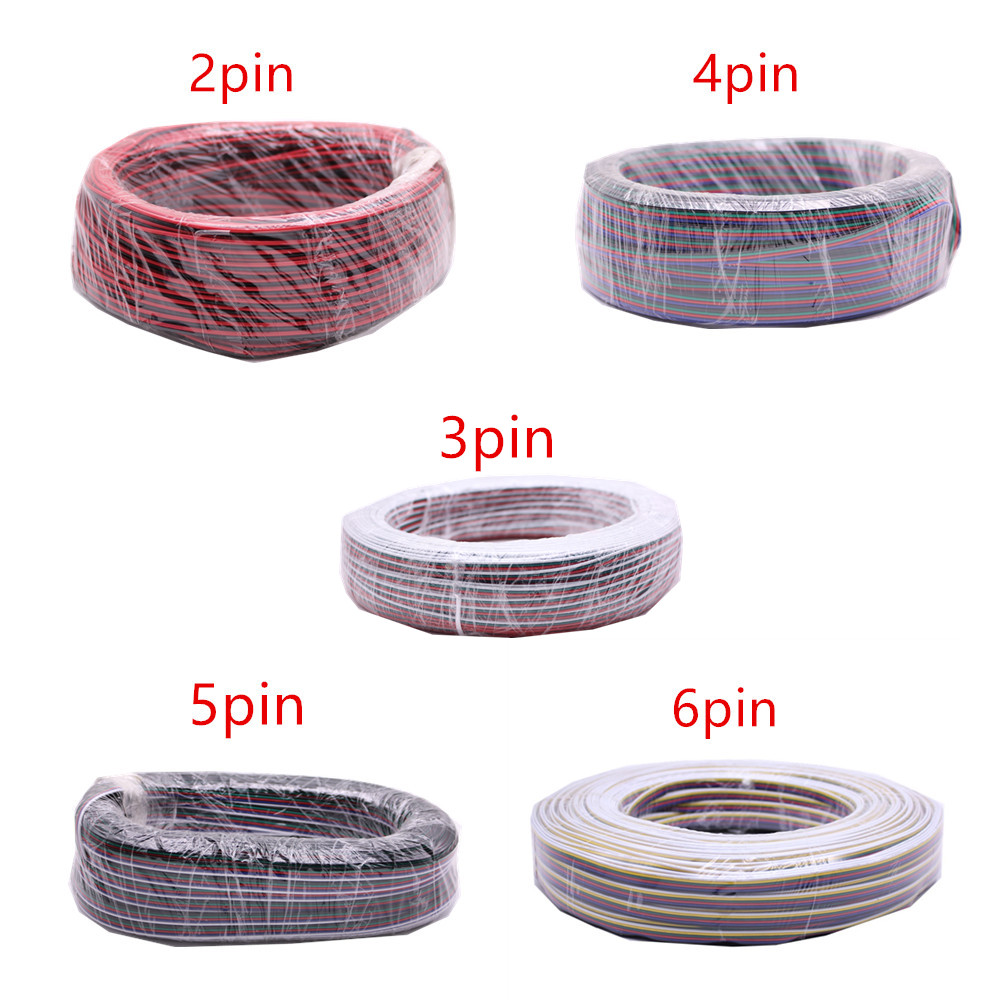 2pin 3pin 4pin 5pin 6pin 22AWG Led Connect LED RGB wire Cable For WS2812 WS2811 RGB RGBW RGB CCT 5050 3528 LED Strip цены