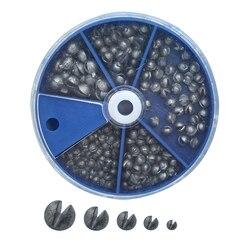 Dzielone obciążniki wędkarskie 205 sztuk/zestaw okrągłe dzielone strzały ołowiane 5 pudełko z przegródkami opakowanie 0.2g/0.28g/0.38g/0.5g/0.8g