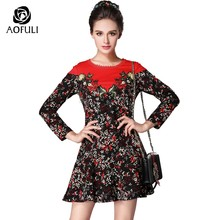 144593d1230 S- 5xl Sicily Floral Women Print Dress With Beadings Embroidery Long Sleeve  Knee-length Dress Red Plus Size Autumn Clothing 5983