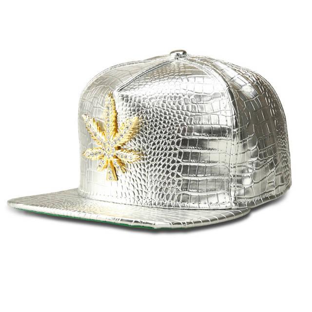 Faux Leather Crocodile Big hemp leaf Baseball Caps Gold Rhinestone hip hop  DJ rap hat men c7d835fe25f6