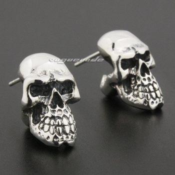925 Sterling Silver Skull Mens Biker Rocker Stud Earring 8R020_#pair