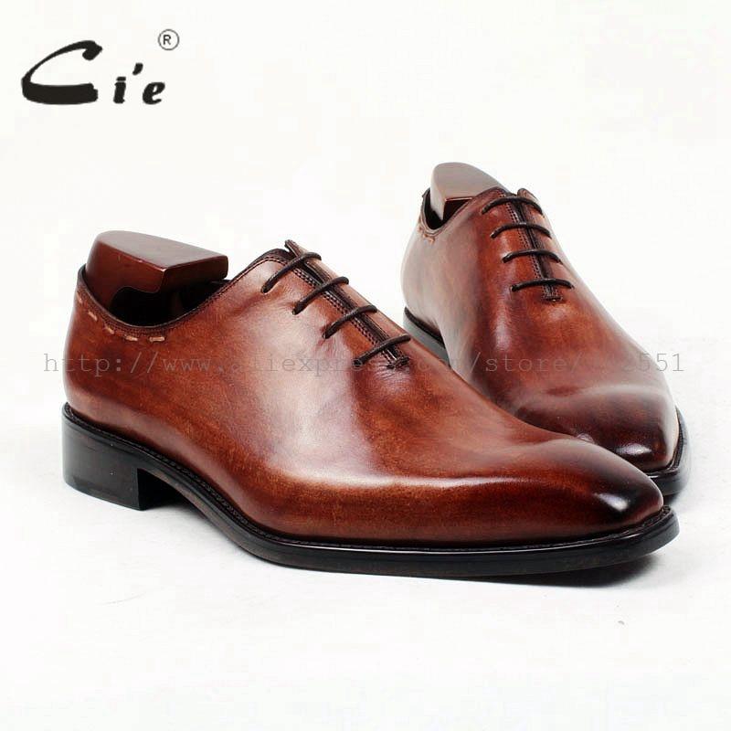 Cie bout carré sur mesure sur mesure fait main pur véritable cuir de veau robe oxford couleur brun foncé de semelle hommes chaussures appartements OX408