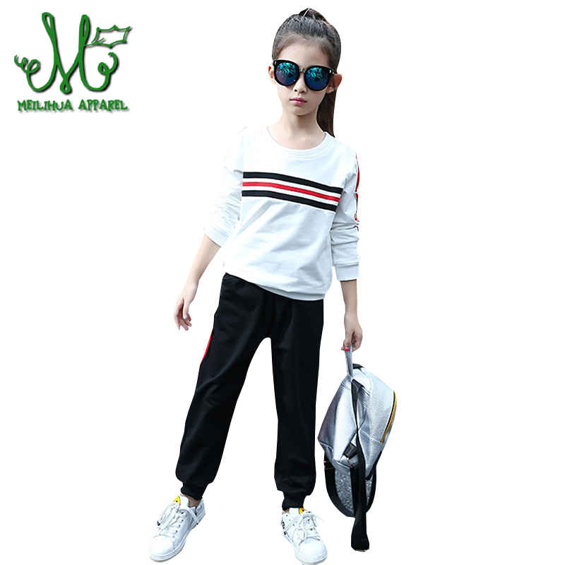 Girls Tracksuits 100% Cotton Spring Sportswear Outfits Girls Sports Suits stripe Casual Clothing Sets For 6 8 10 12 14 15 Years children clothing sets for girls sports suits cotton letter hoodies & shorts 2pcs kids boys outfits summer tracksuits 6 8 10year