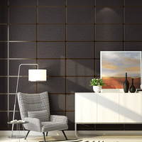Grey 3D Faux Marble Wallpaper Roll Squares Decorative Concrete Block Wall Papers For Walls 3D TV