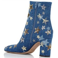 Stars High Heels Women Shoes Mid-Calf Boots Women Square Toe Heels Thick Boots Spring Colorful Jeans Denim Botas Zapatos Mujer