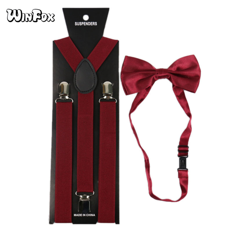 Winfox Burgundy Red Man's Suspenders Bowtie Set Men Women Elastic Suspenders Wide 2.5cm Shirt Braces Bow Tie