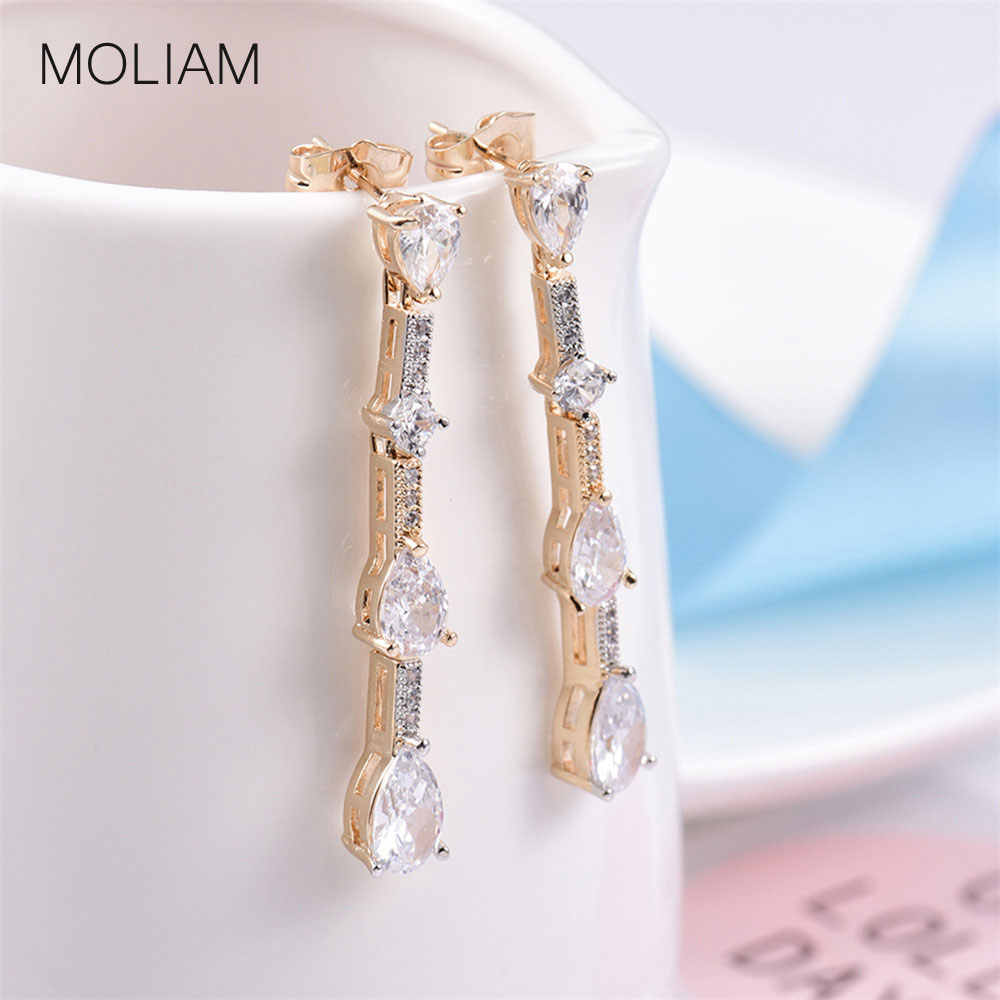 MOLIAM יוקרה מעוקב Zirconia לנשים 2018 האופנה טרנדי כסף/זהב-צבע עגיל ארוך Brinco תכשיטי מתנה MLE806