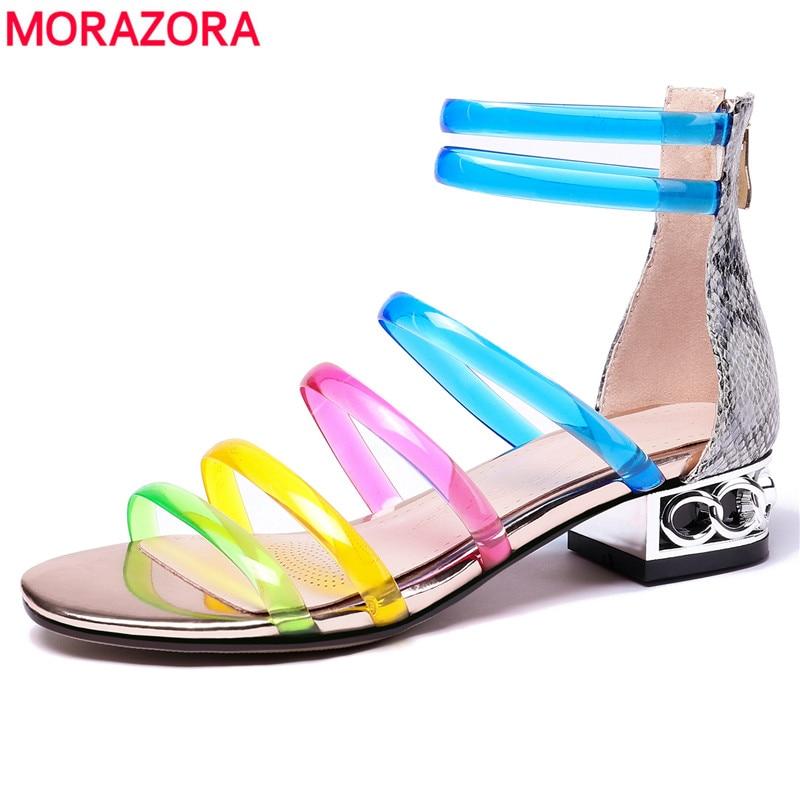 MORAZORA New arrival 2019 Fashion leather gladiator sandals women transparent pvc colors square low heels summer
