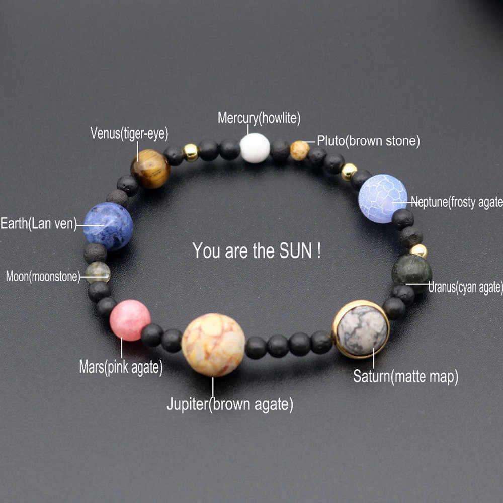0e1c2136ea Cute Men Women Galactic System Natural Stone Milky Way Beads Yoga Bracelet  Bangle Delicate fashion jewelry