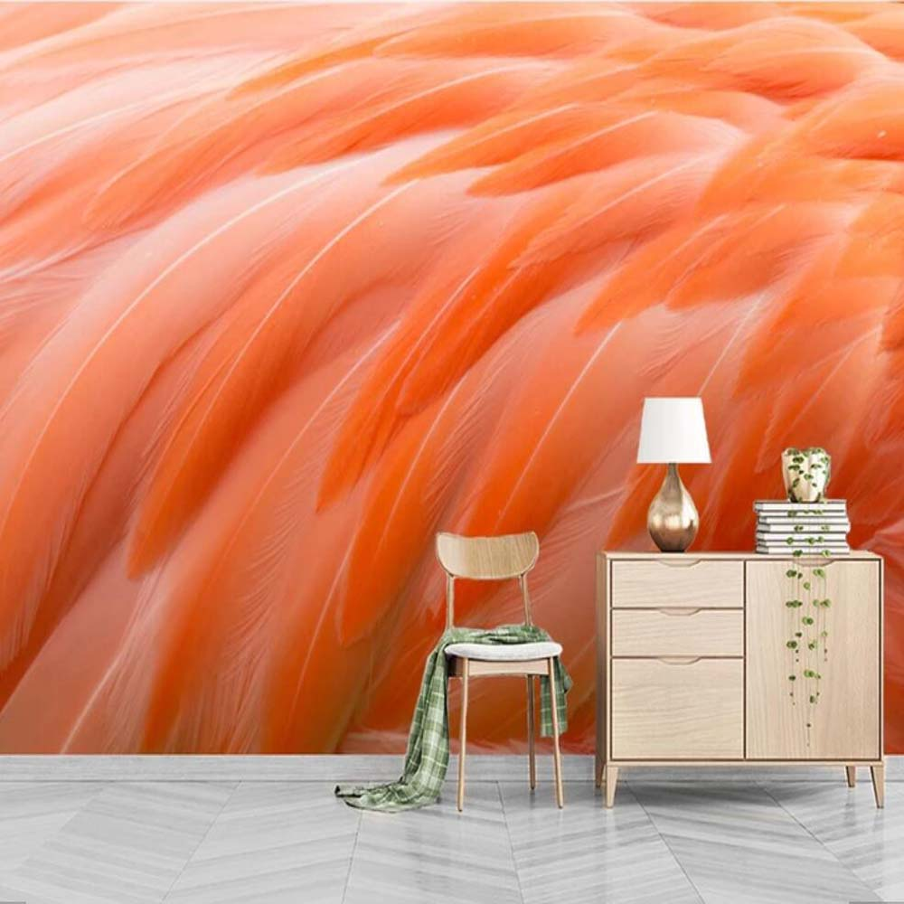US $9.47 50% OFF|Hand Painting Flamingos Feather Print Wallpaper Mural for  Bedroom Decoration Home Wall Papers Wall Decor Mural 3d Animal Custom-in ...