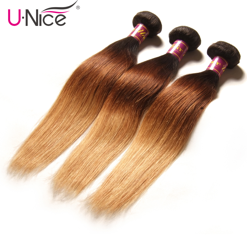 UNICE HAIR Ombre Brazilian Hair 3 pcs Weft Color T1b 4 27 Straight Human Hair Bundles