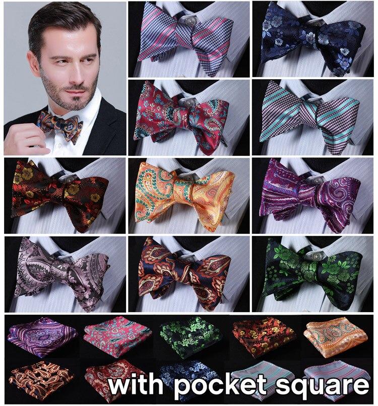 Paisley Flora 100% Seide Jacquard Woven Männer Schmetterling Selbst Fliege BowTie Einstecktuch Taschentuch Taschentuch Suit Set EFC