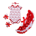 Baby Girl Christmas Outfits Fashion Infant Winter Clothing Set Pettiskirt+Bodysuit+Shoes+Headband Winter Snow New Baby Clothes