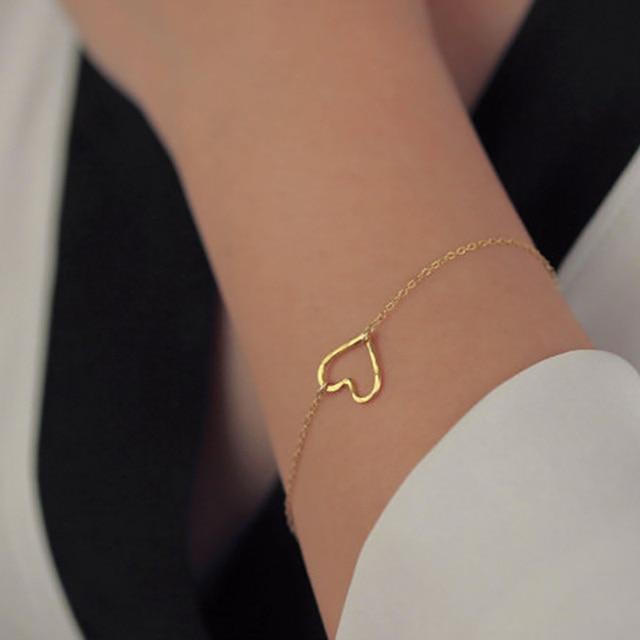 New Fashion Heart Bracelet Delicate Simple Gold Women Gift For Her Sl003
