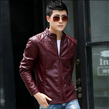 Plus size men's leather clothing 2016 new Stand collar leather jacket men short slim motorcycle leather coat men outerwear black