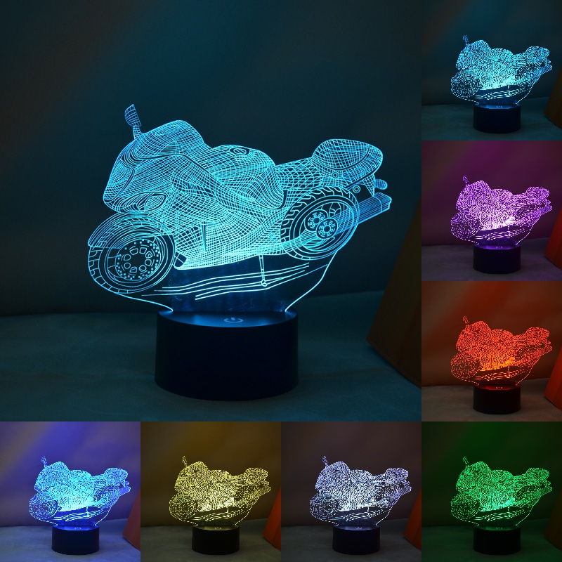 USB 3D Lamp motorcycle LED Night Light Cartoon 3D Car 7 Colors Acrylic Discoloration Colorful Atmosphere