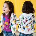 New Arrival 2016 Spring Baby Girls Fashion Outerwear Jacket Girls Character bear-print Jacket Coat Child Hooded Jacket