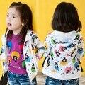 Nova Chegada da Primavera 2016 Meninas Do Bebê Moda Outerwear Jaqueta Meninas Caráter urso-Jaqueta de impressão Casaco Jaqueta Com Capuz Criança