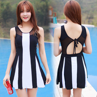 Rhyme Lady Fashion Swimsuit Dress Print Black And White Stripe Bathing Suit New Design Back Strap