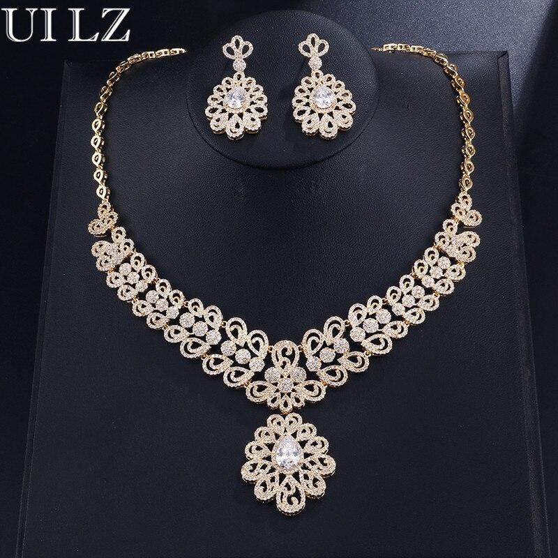 UILZ Luxury Cubic Zirconia Bridal Jewelry Sets Flower Shape Clear CZ Party Wedding Jewelry Necklace Sets US379
