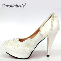 New Wedding Shoes For Women Design Ivory Lace Low High Heels Flowers Pearls Anklet Woman Shoes