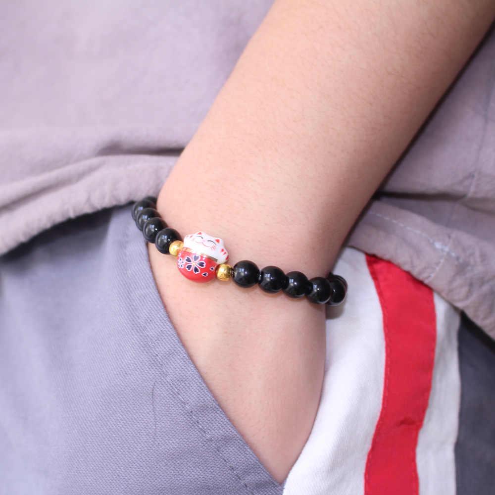 2019 nowych kobiet bransoletki obsydian rozciągliwa linka bransoletka z kamienia naturalnego bransoletka z koralików ceramiczne kot na szczęście słodkie biżuteria dla mężczyzn i pani