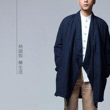 Nakali Китайский Традиционный Стиль Мужские Длинное Пальто Хлопка-ватник Вниз Парки Зима Новый