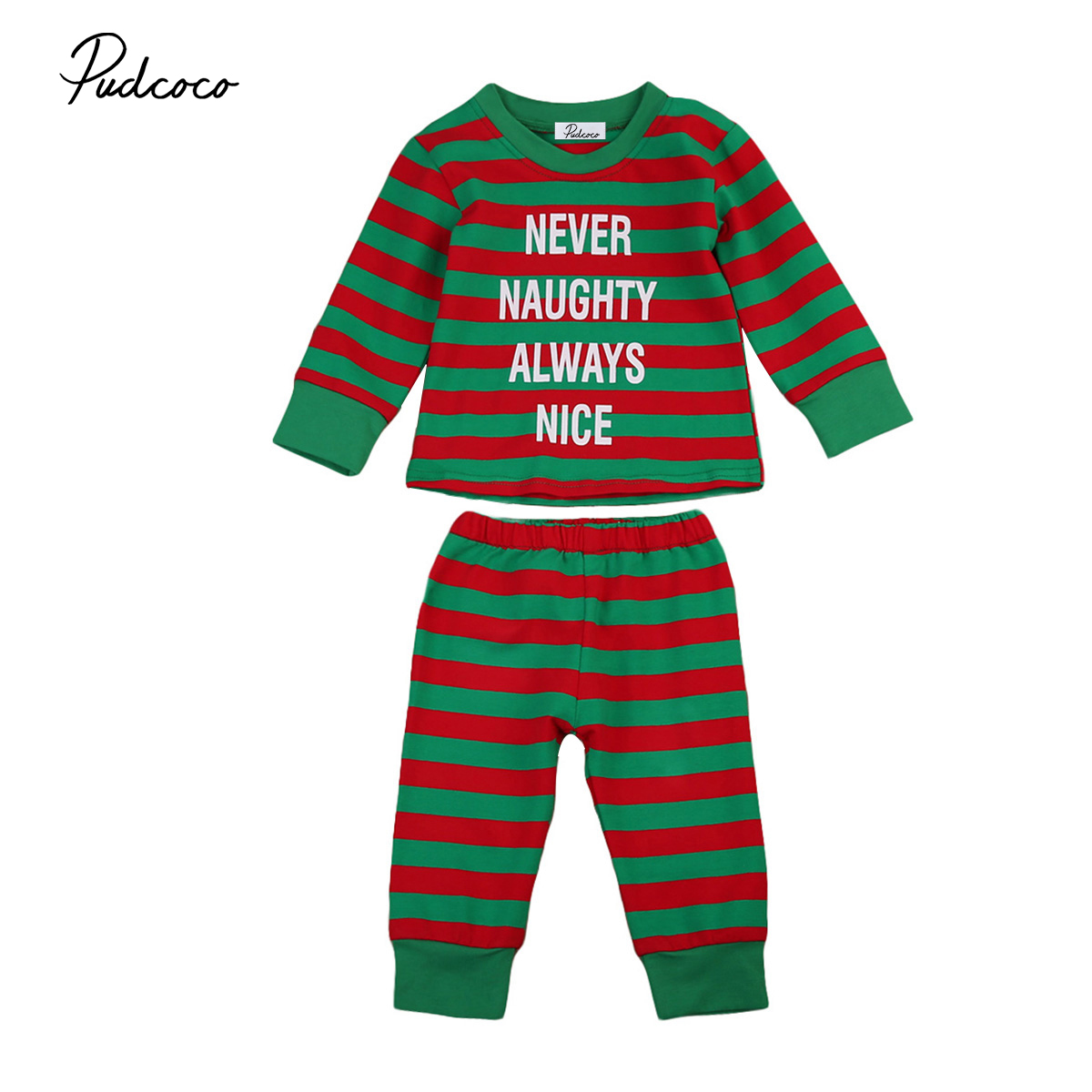 Baby Kids Boys Girls Stripes Xmas Clothing Set Child T-shirt Pants Pjs Sleepsuit Sleepwe ...