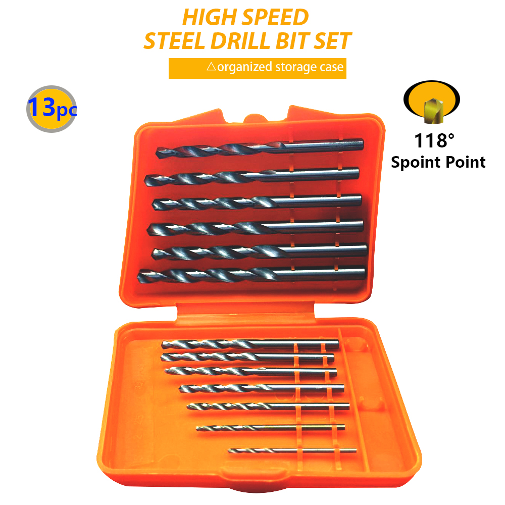 13pcs/set Hss High Speed Steel Twist Drill Bit For Metal Titanium Coated Drill 1/4 Hex Shank 1.5- 6.5mm Power Tools Par Ad1038 13pcs lot 1 5 6 5mm hss high speed steel titanium coated drill bit set 1 4 hex shank power tools