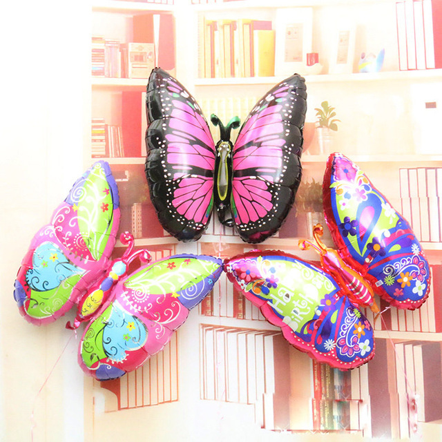 4 different colors butterfly balloon helium animal shaped balloons