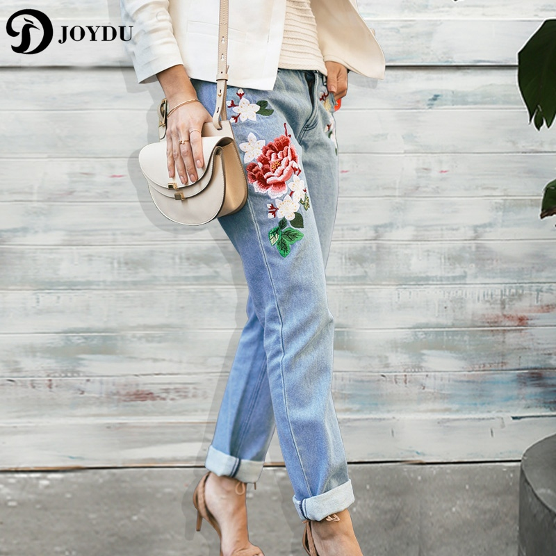 JOYDU Flora Embroidery Jeans For Women Mid Waist Streetwear Denim Trousers Female Pants Boyfriend Straight Jeans Ripped Female joydu hole ripped jeans for women washed blue streetwear plus size denim boyfriend edging cool vintage retro jeans female 2017