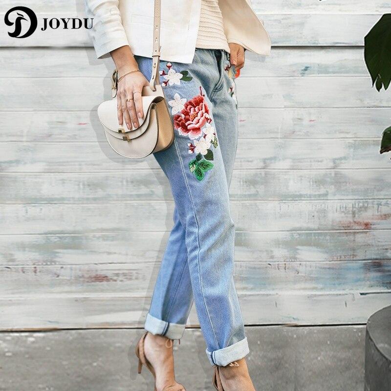 JOYDU Flora Embroidery Jeans For Women Mid Waist Streetwear Denim Trousers Freddy Pants Boyfriend Straight Jeans Ripped Female