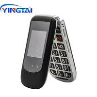 Новый YINGTAI T09 GSM двойной экран флип старшие телефон для пожилых SOS функция раскладушка мобильный телефон Большой кнопочный мобильный телефон...