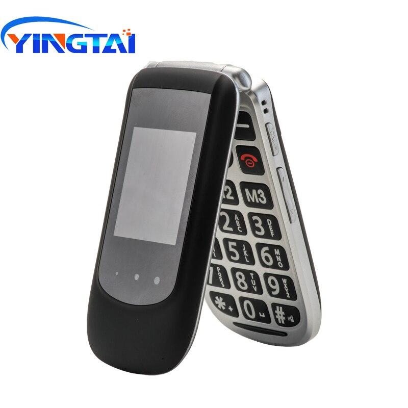 Nouveau YINGTAI T09 GSM double écran flip téléphone senior pour aîné SOS fonction téléphone portable à clapet grand bouton-poussoir téléphone Mobile FM