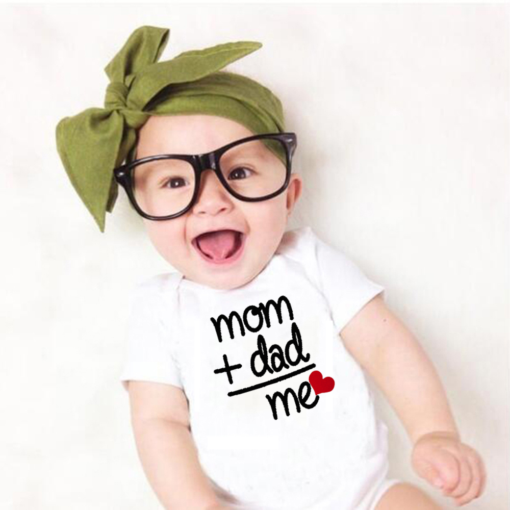 8 COLORS Newborn Toddler Baby Boy Girl Dad +Mom Outfit Costume Romper Short Sleeve Clothes Baby Girl Roupa De Bebe 0-24M