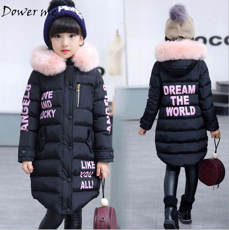 Children Down Jackets Russian Winter Girls Long Sections Thickening Warm Outerwear & Coats Baby Girl Fur Collar Down & Parkas 100% white duck down women coat fashion solid hooded fox fur detachable collar winter coats elegant long down coats