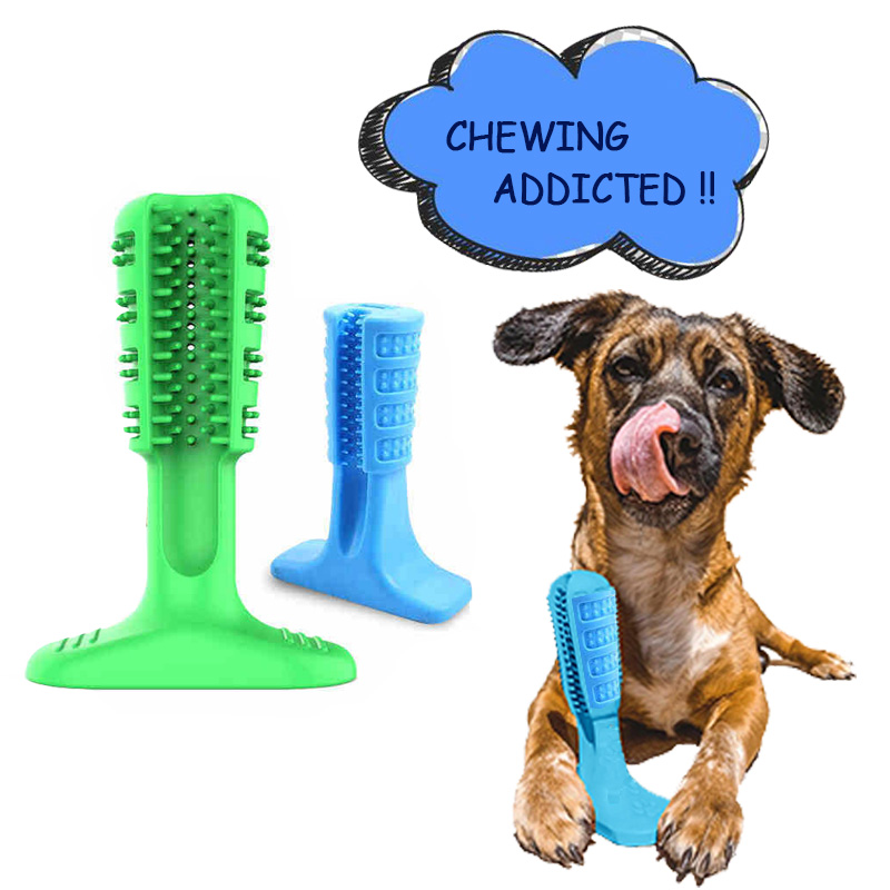 Dog Toothbrush Stick Dental Care Brushing Stick Effective Natural Rubber Bite Resistant Chew Toys For Pets image