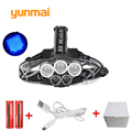 5Led Waterproof 10000Lm Blue Light 3*XML T6+2*Q5 USB Headlight Headlamp Head Lamp 5-mode Torch +2x18650 Battery for Fishing