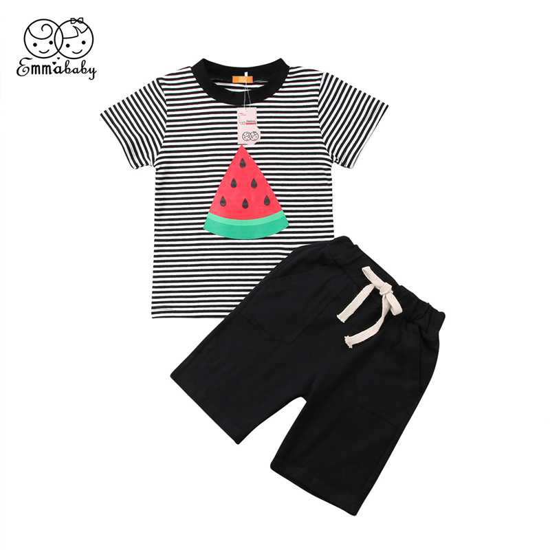 3daab6c8ca Emmababy 0-4Y Children baby Boys girls Watermelon Stripe T-shirt Tops  Shorts bebe girl boy cotton Outfits Clothes Set
