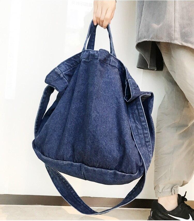 Casual Women Denim  Handbag Big Capacity High Quality Canvas Shoulder Bag Simple Denim Messenger Bag Shopper Tote Bag Blue