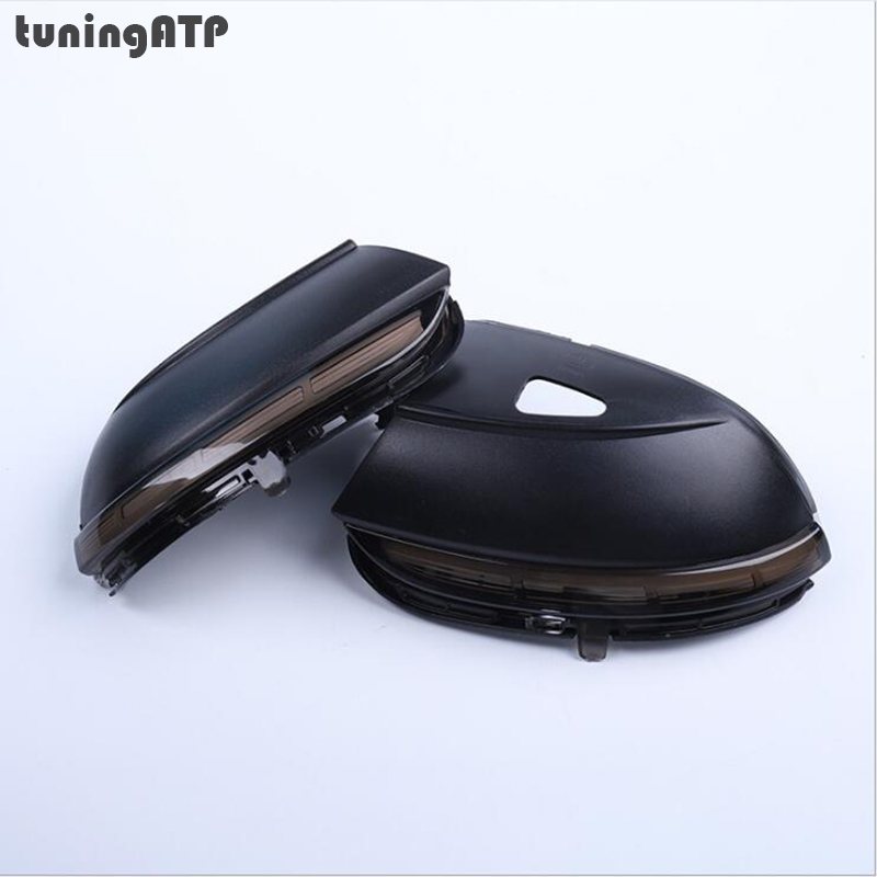 tuningATP Smoked LED Wing Mirror Indicator Dynamic Sequential Turn Signal Lamps for Volkswagen Passat B7 CC
