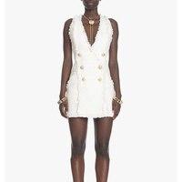 EXCELLENT QUALITY Paris Fashion Designer Dress For Women Sleeveless Metal Lion Buttons Tassel White Dress