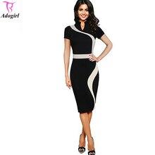 Women Summer Office Dresses New Lady Stand Collar Short Sleeve Knee Length Bodycon Pencil Dress Big Size vestido de festa