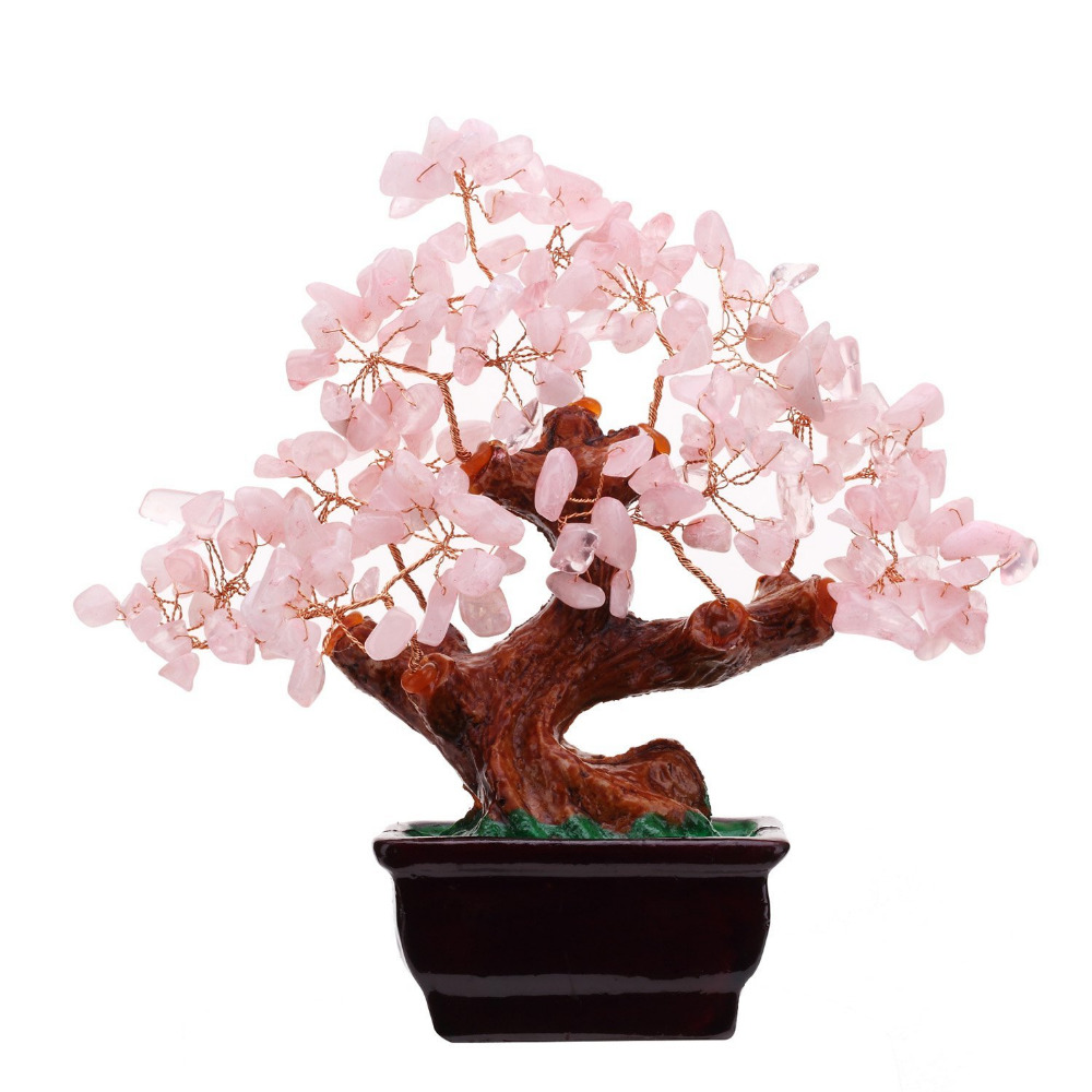 feng shui natural rose quartz crystal money tree bonsai style decoration for wealth and luck in. Black Bedroom Furniture Sets. Home Design Ideas